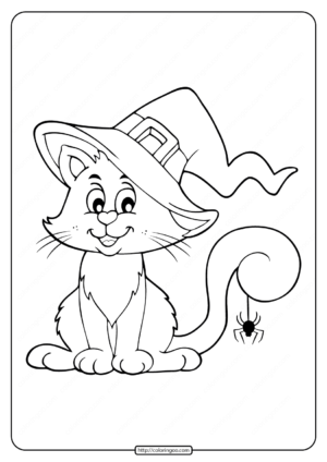 Printables Cat and Spider Coloring Pages