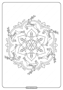 Reindeer Mandala Christmas Coloring Pages
