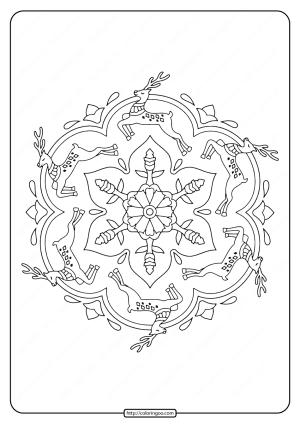 Reindeer Mandala Christmas Coloring Pages