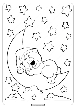 Sleeping Bear on the Moon Coloring Pages