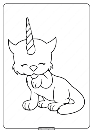 Unicorn Kitten Coloring Pages
