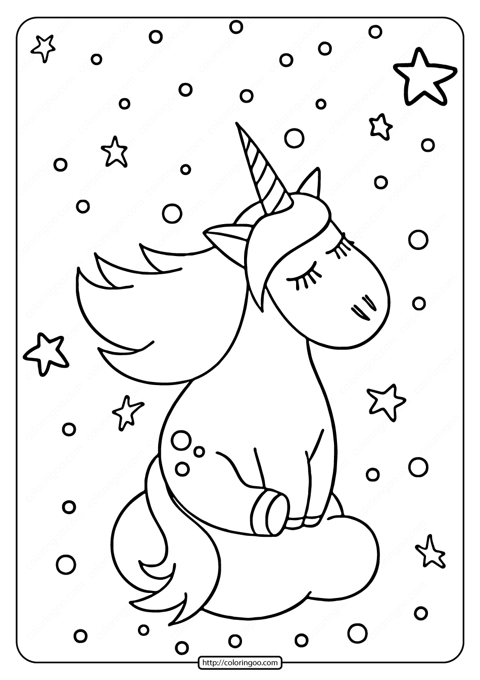 Unicorn on the Cloud Coloring Pages