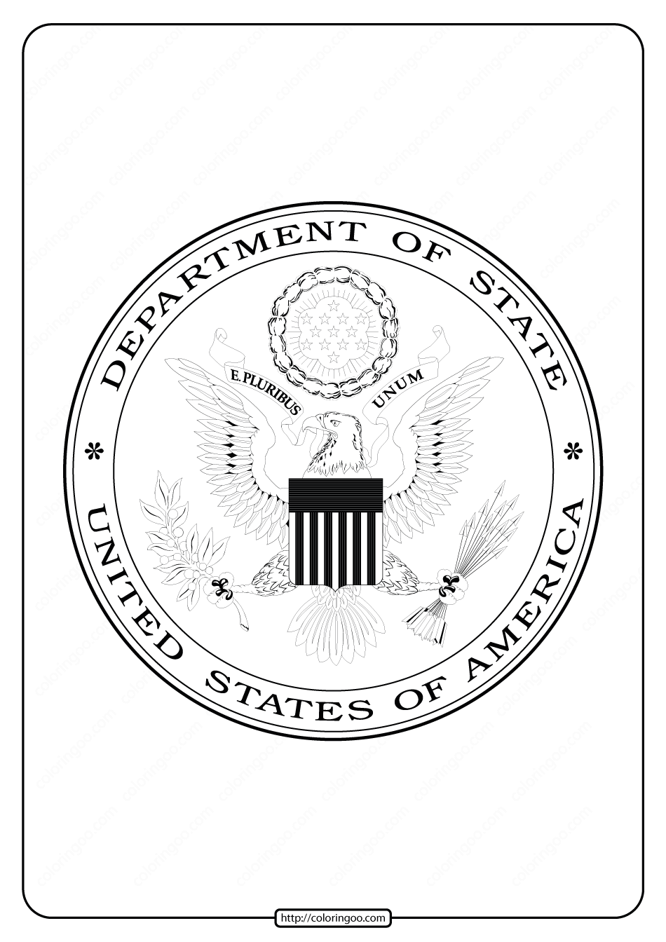 United States of America Department of State Coloring