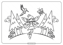Woodland Fairy Coloring Pages