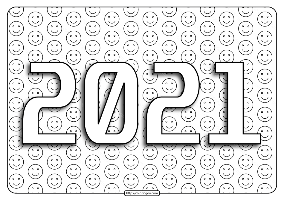 2021 Happy New Year Coloring Pages