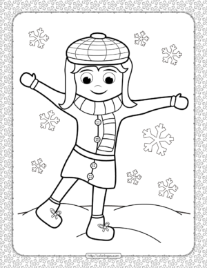 A Girl Under the Snow Coloring Page