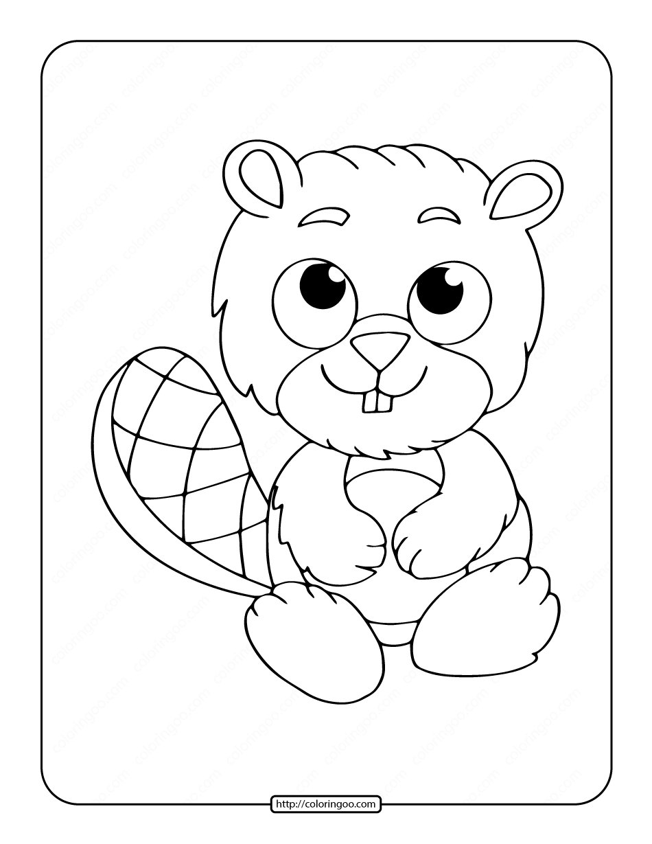 Baby Beaver Coloring Page