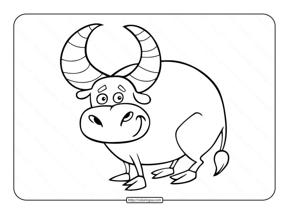 Big Horned Bull Coloring Page