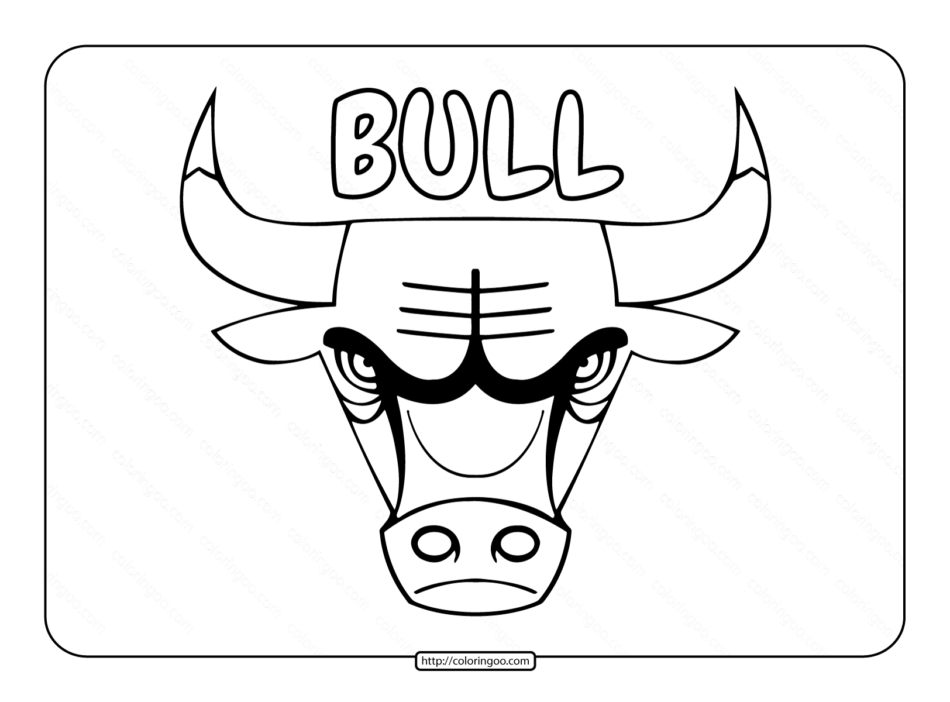 Bull Head Outline Coloring Page