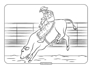 Bull Rider Coloring Page