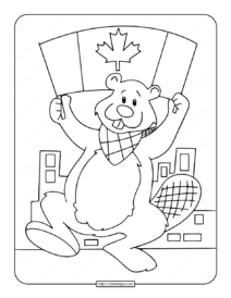 Canadian Beaver with Canada Flag Coloring Page