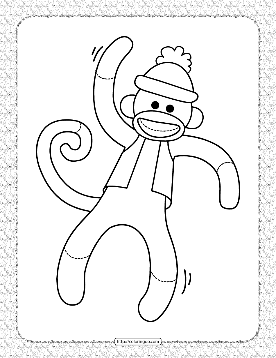 Capped Monkey Coloring Page