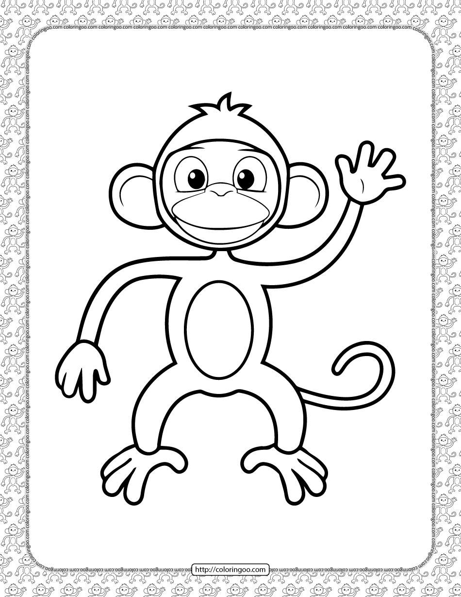 Cartoon Monkey Coloring Pages for Kids