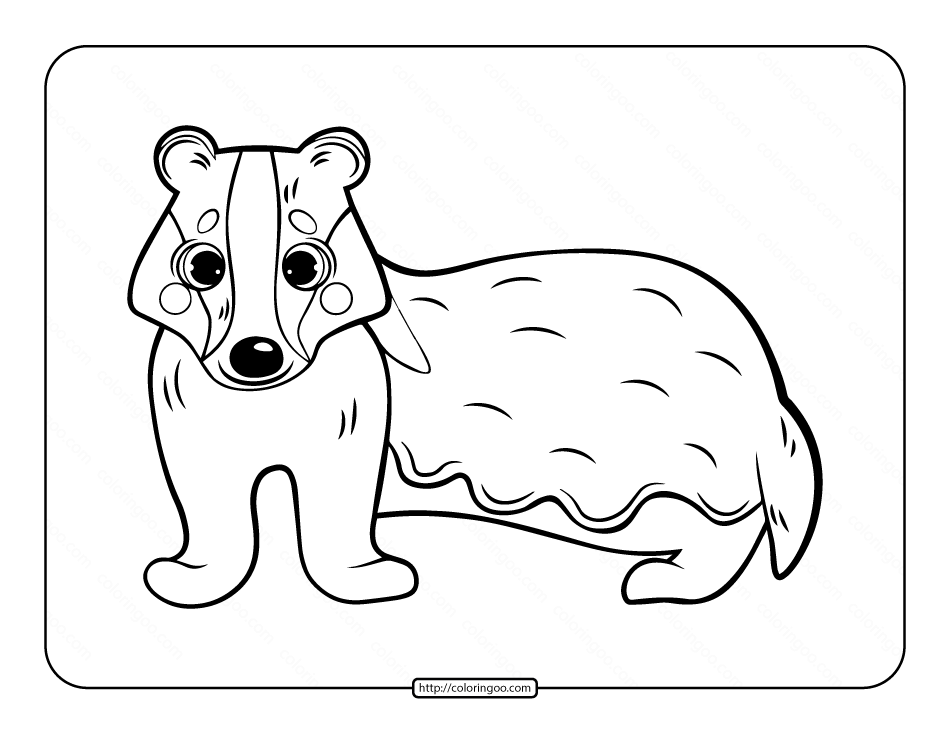 Cute Badger Coloring Page