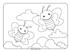 Cute Bees Coloring Pages