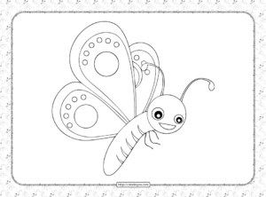 Cute Butterfly Pdf Coloring Page