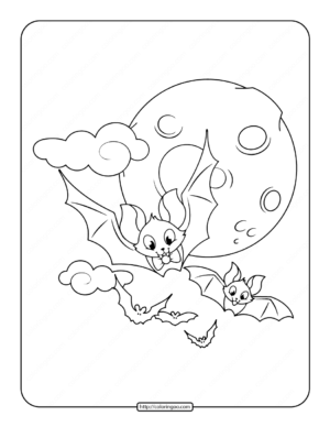 Cute Flying Bats Coloring Page
