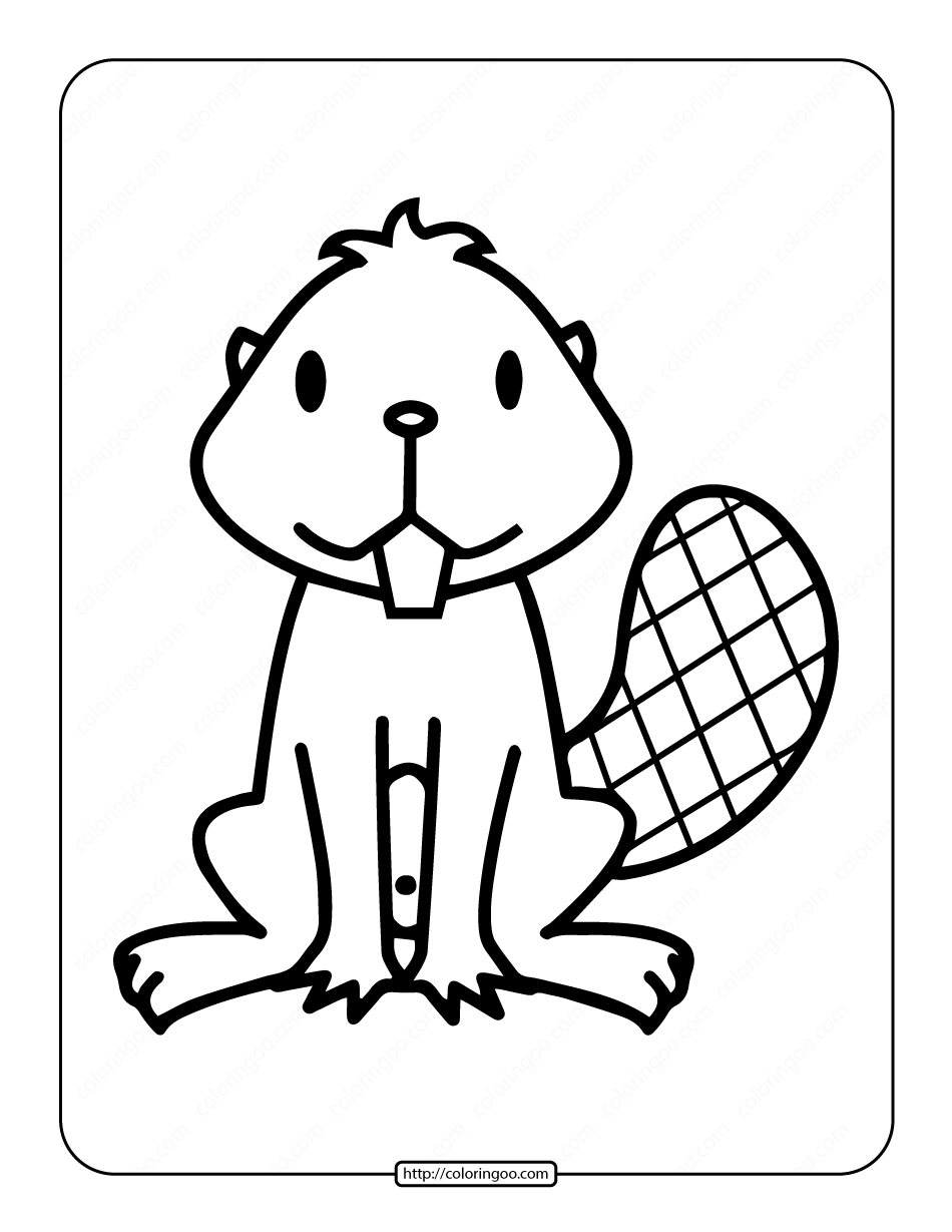 Easy Beaver Drawing Coloring Page