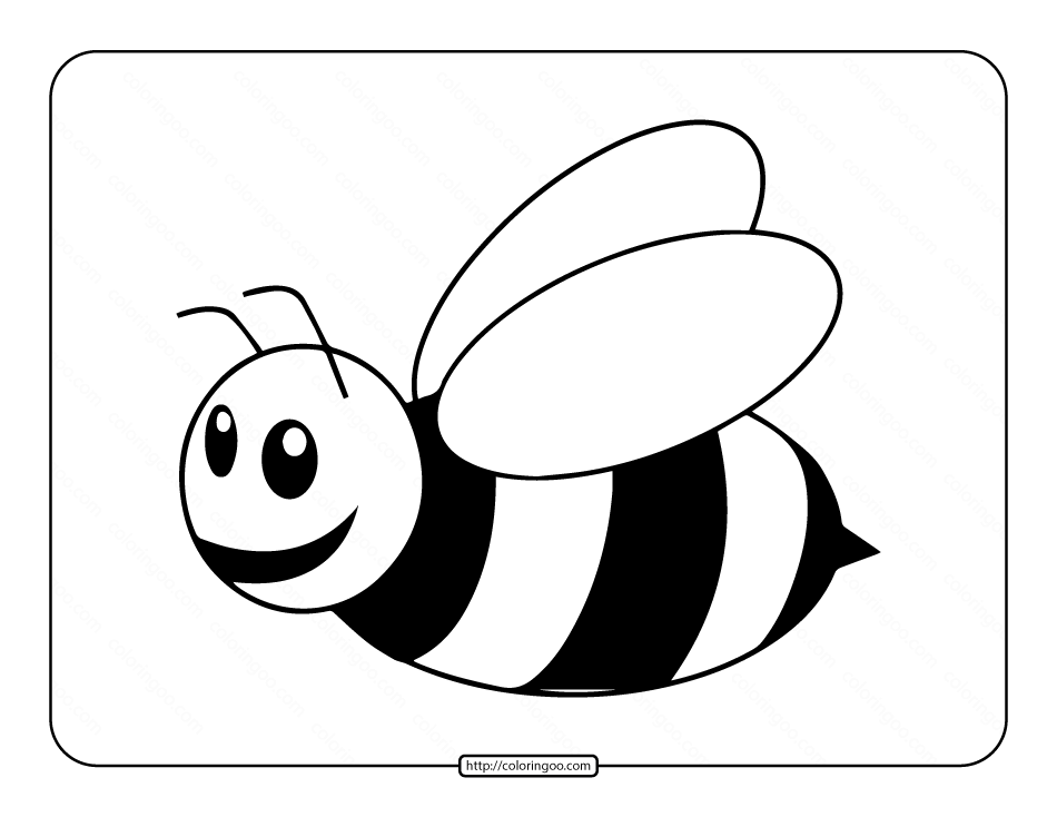Easy Bee Coloring Page