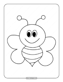 Easy Bee Drawing Coloring Page