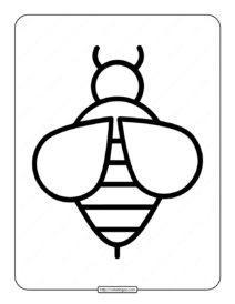 Easy Bee Outline Coloring Page
