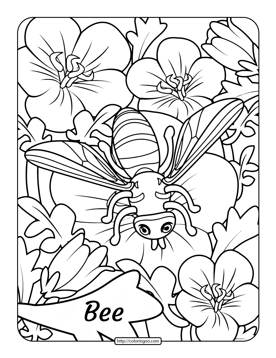 Free Printable Adult Bee Coloring Page 1