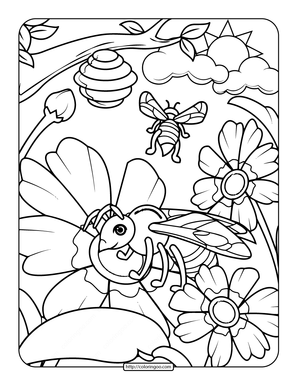 Free Printable Adult Bee Coloring Page 2