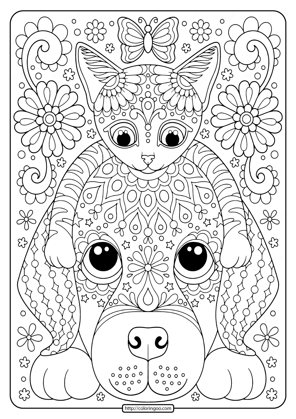 Free Printable Cat and Dog Coloring Pages