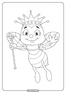 Free Printable Queen Bee Coloring Page
