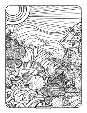 Free Printables Beach Coloring Page for Adults
