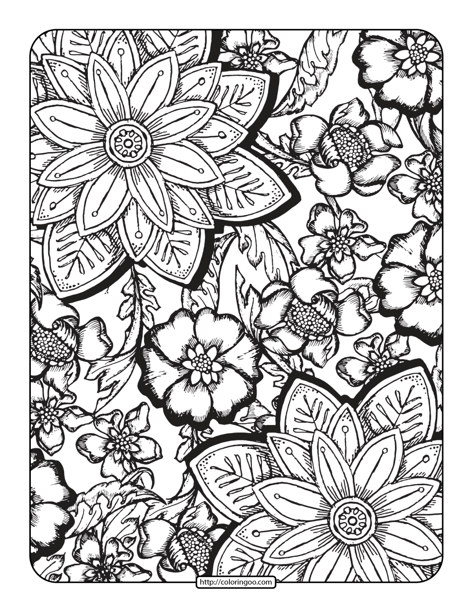 Free Printables Floral Coloring Page for Adults