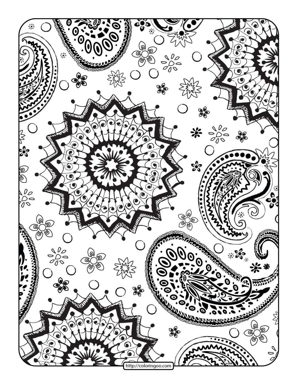 Free Printables Mandala Paisley Coloring Page