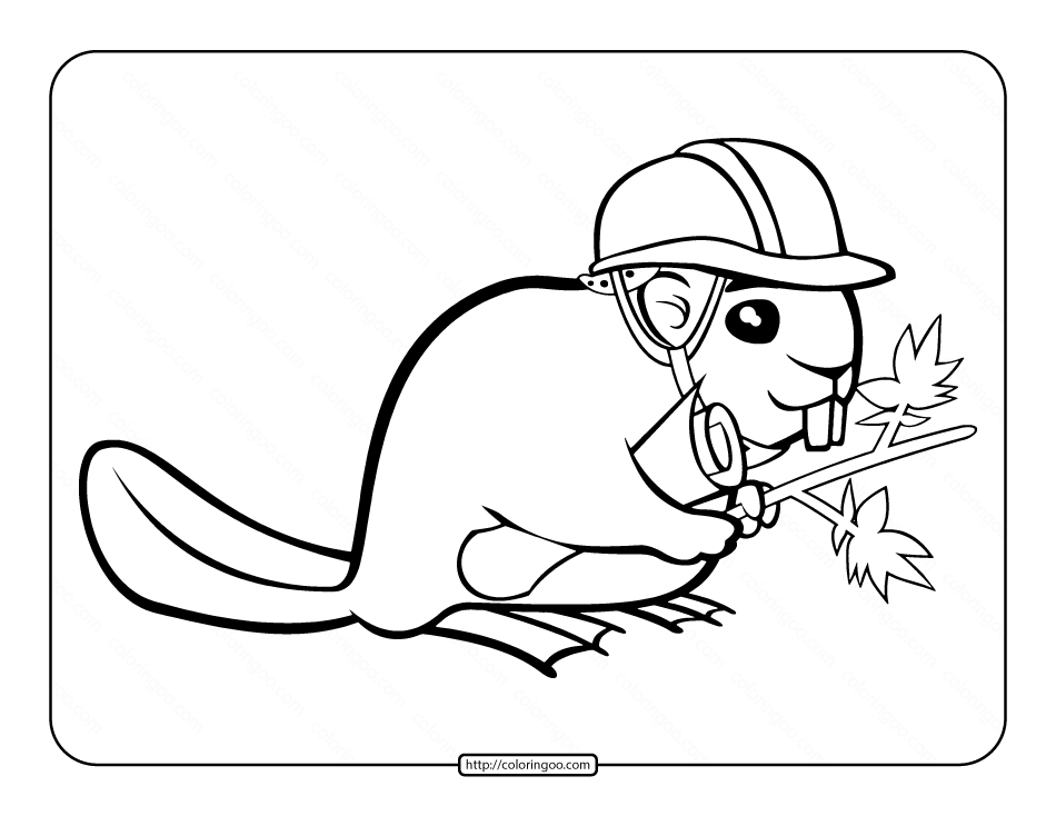 Funny Beaver Coloring Page