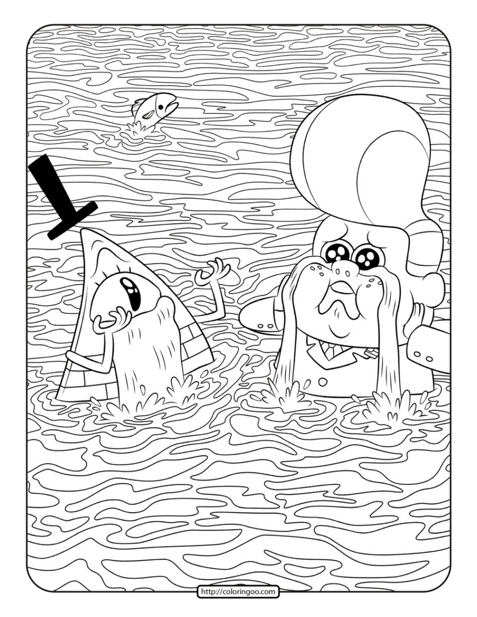 Gideon Gleeful and Bill Cipher Crying Coloring Page
