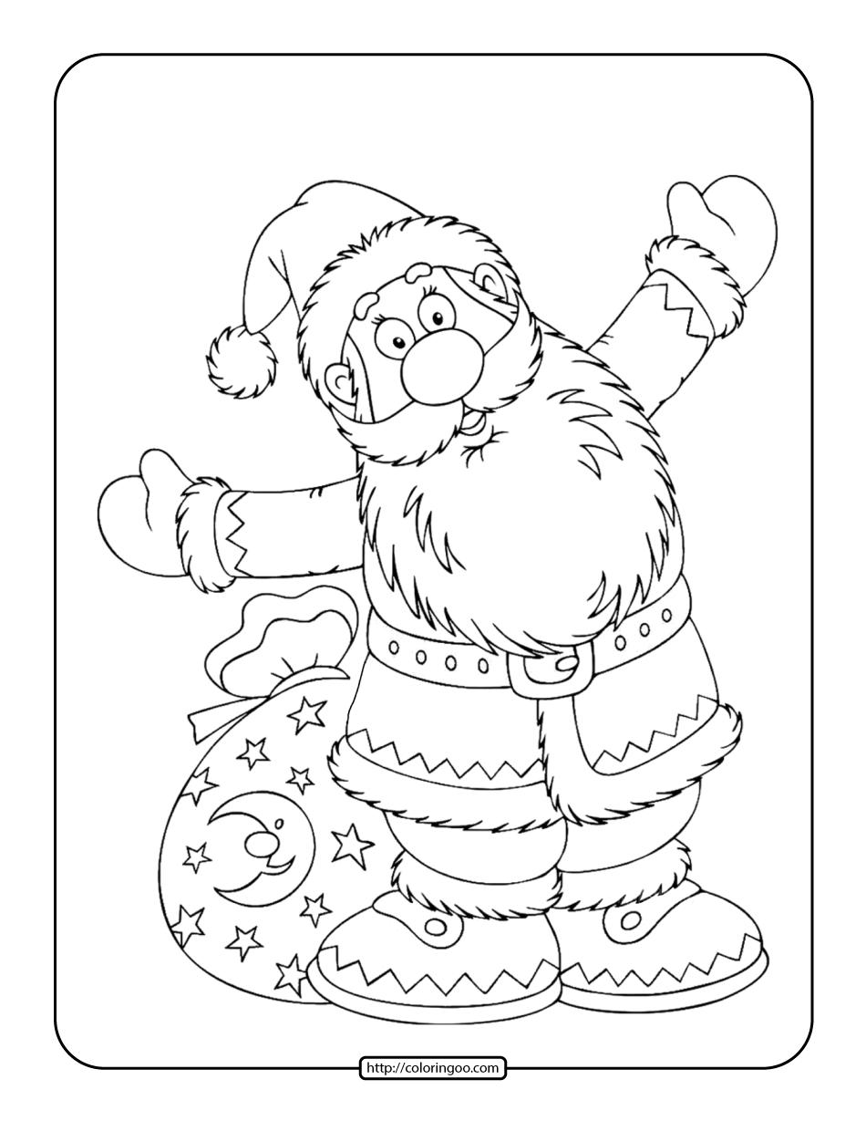 Happy New Year Santa Claus Coloring Page