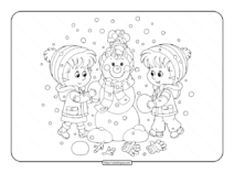 Kids Playing with a Snowman Coloring Page