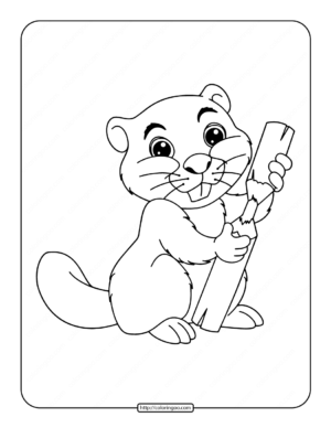 Little Cute Beaver Coloring Page