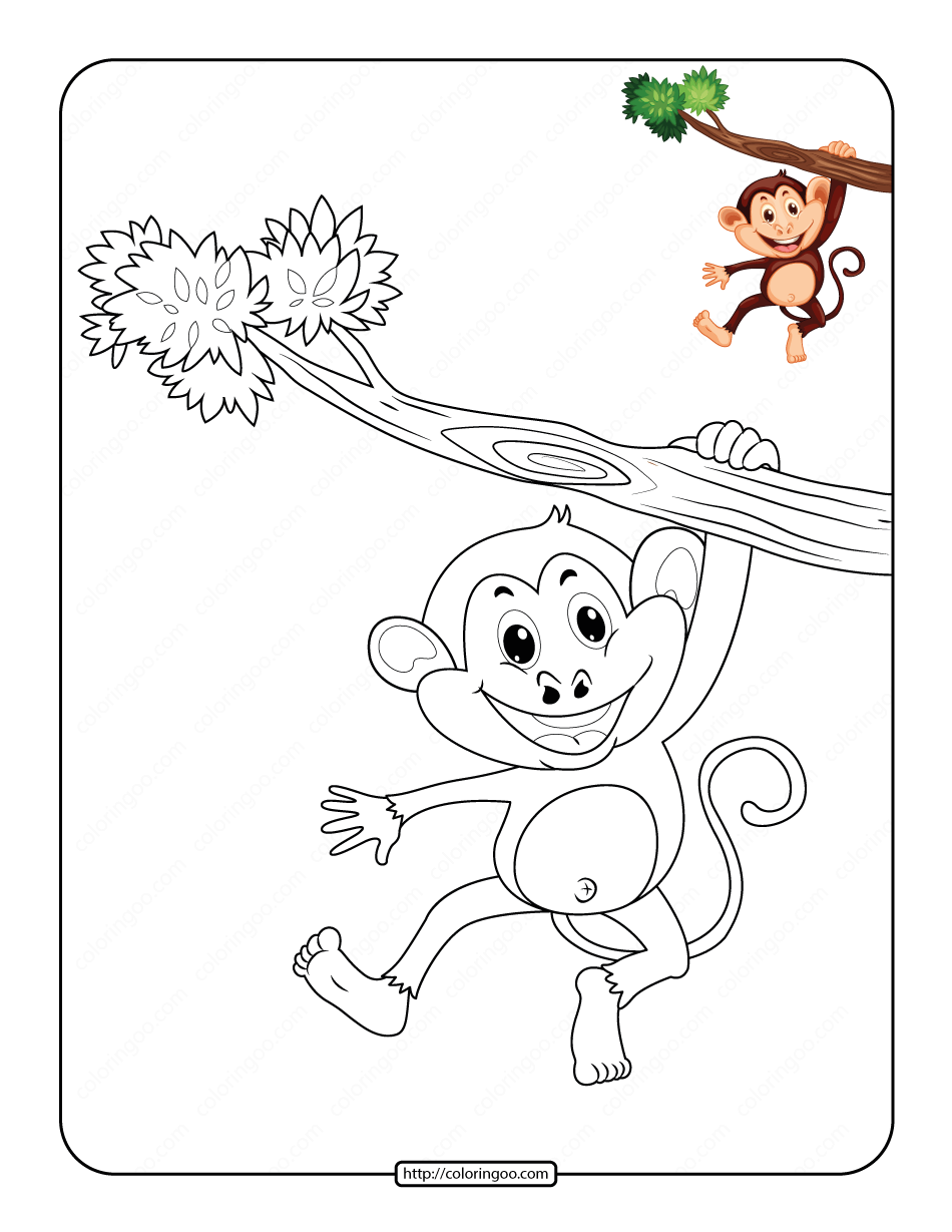 Monkey Hanging on a Branch Coloring Page