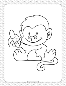 Monkey with a Banana Coloring Page