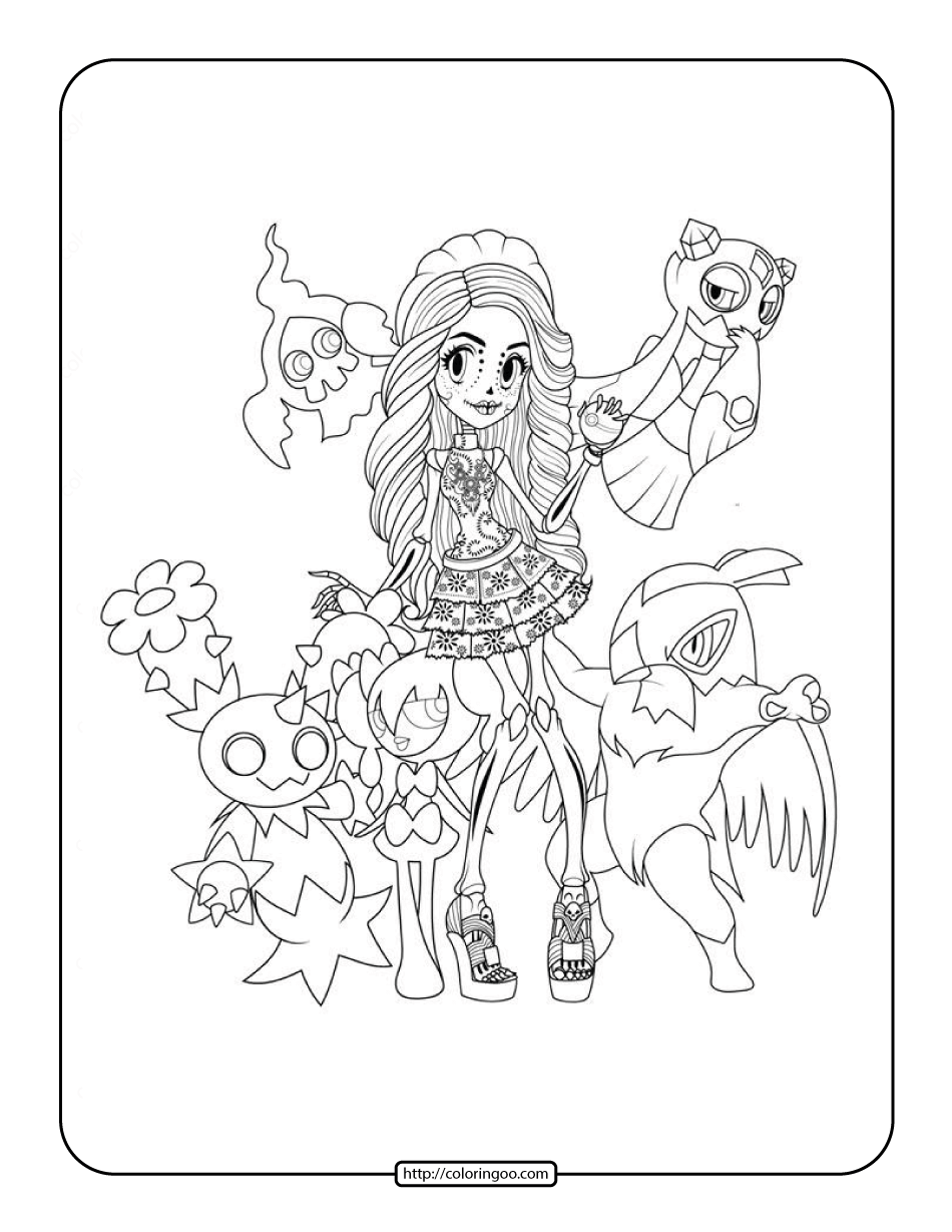 Pokemon Monster High Coloring Page