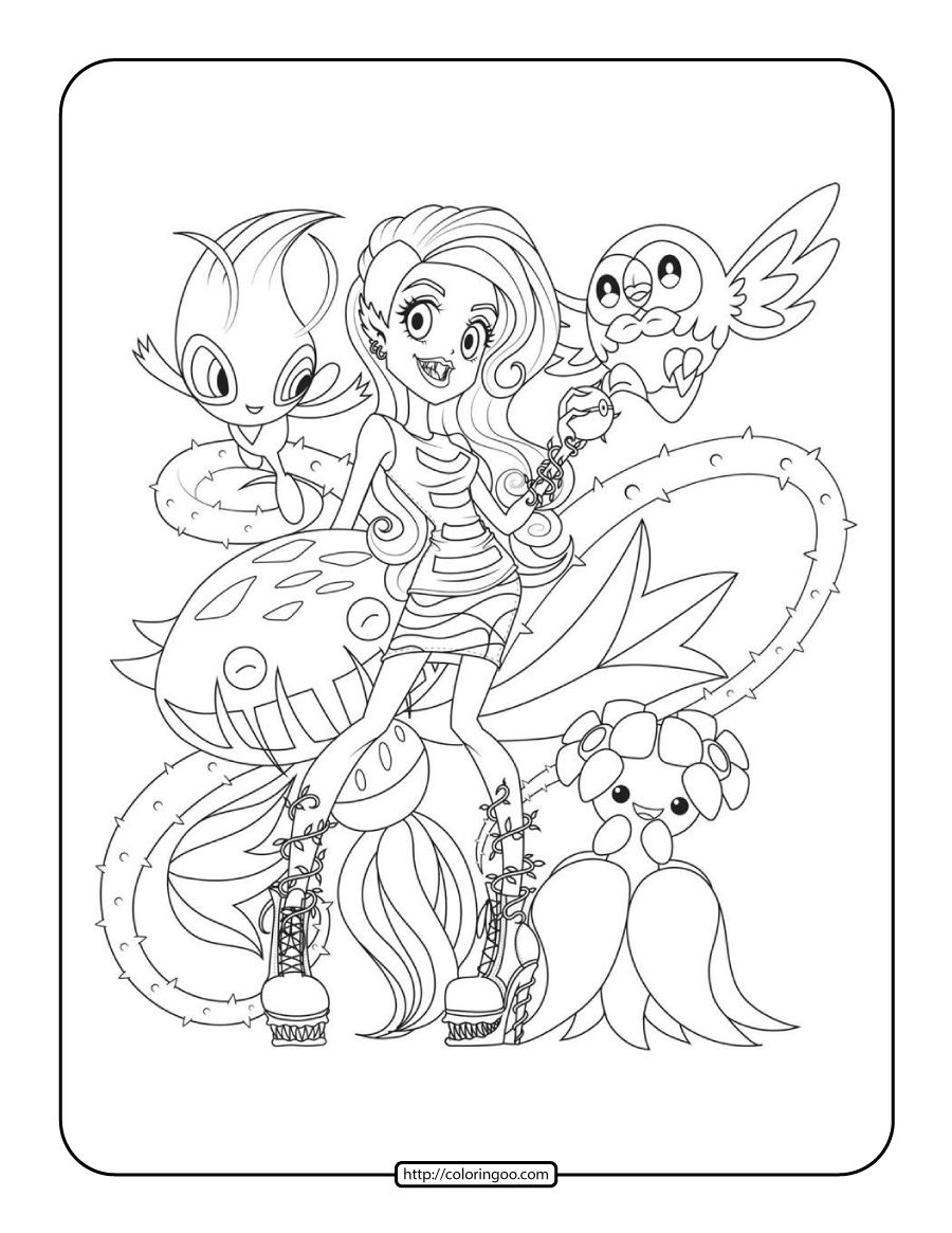 Pokemon Monster High Coloring Pages for Kids