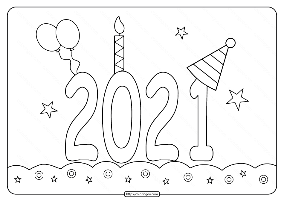Printable 2021 Happy New Year Coloring Pages