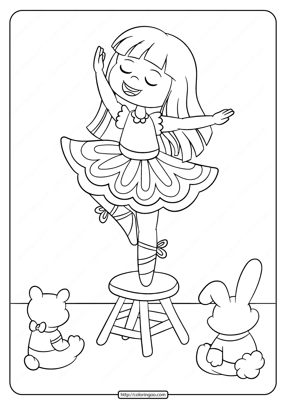 Printable Ballerina Coloring Pages for Girls