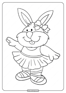 Printable Ballerina Rabbit Coloring Pages