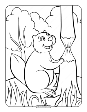 Printable Beaver Coloring Page