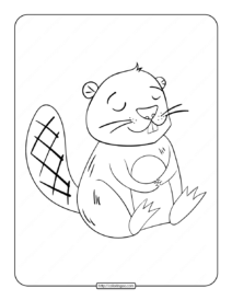 Printable Beaver Sleeping Coloring Page