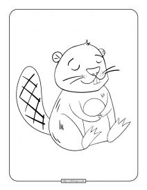 Printable Beaver Sleeping Coloring Page