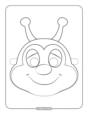 Printable Bee Mask Outline Coloring Page