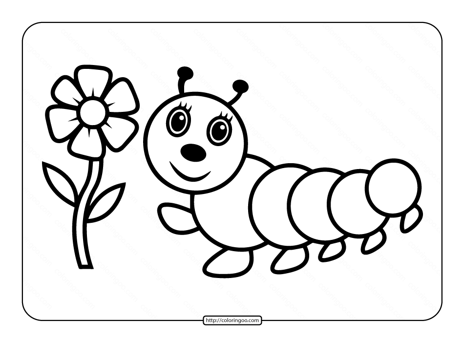 Printable Caterpillar Coloring Page for Kids