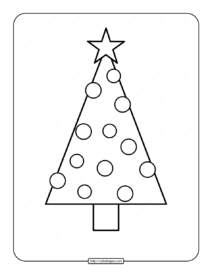 Printable Christmas Tree Coloring Page 02